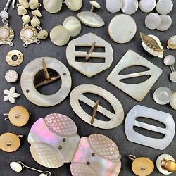 Vintage Antique Jewelry Repair Craft Lot Carved Mother Of Pearl Shell Buckle +