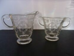Fostoria Navarre Clear Crystal Creamer And Two Handled Sugar Bowl Etched Glass
