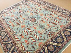 8andrsquo X 10andrsquo Light Blue Oushak Oriental Rug Hand Knotted Wool Geometric All-over