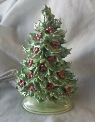 Ceramic Christmas Tree Made from a Vintage Mold Green with Red Berries pearled..