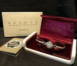 Vintage Bulova 21 Jewels Working Ladies Watch With Case And Box