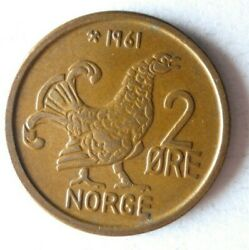 1961 Norway 2 Ore - Au Excellent Coin - Free Ship - Norway Bin D