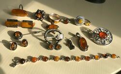 Large Lot Of 17 Vintage Antique Amber Jewelry Rings Brooches Cufflinks Pendants