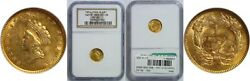1854 1 Type 2 Gold Coin Ngc Ms-62