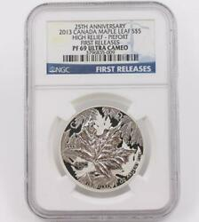 2013 Canada Maple Leaf 999 Silver 5 Ngc Pf69 Ultra Cameo Piedfort Coin 25 Years