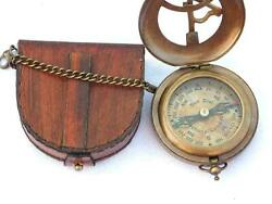 Antique Brass Pocket Locket Leather Case Sundial Compass Brass And Chain Gift