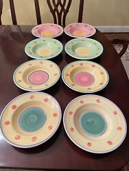 Hand Painted Pottery Barn Soup/pasta/salad Bowl 10andrdquo Euc Made In Italy.
