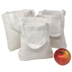 12 DIY Blank Small White Canvas Tote Bags Bulk $19.04