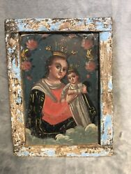 """Antique 1800s Our Lady Refuge Of Sinners Mexican Tin Retablo 8.75"""" X 12"""""""