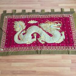 Wall Hanging Dragon Thai Burmese Kalaga Tapestry Vintage Embroidered Sequins Red