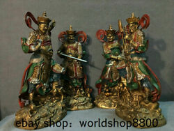 16.2 Old China Buddhism Copper Painting 4 Great Heavenly Kings Gods Statue Set