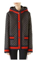 Nwt 2600 Quilted Caban Web Stripe Detachable Hooded Winter Coat/jacket 40