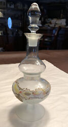 Vintage Beautiful Blown Signed Art Glass Clear And Frosted Decanter With Stopper