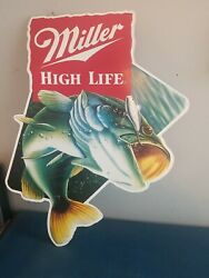 Miller High Life Beer Bass Fish And Water With Lure Tin Bar Sign Northwoods Wi
