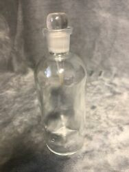 """Antique Apothecary Glass Bottle With Glass Stopper T.c.w. Co Usa 6 6.75"""""""