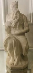Antique Alabaster Marble Sculpture Of Moses By A. Gennay