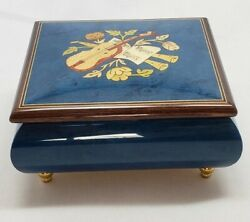 Musicboxattic Vibrant Royal Blue Violin/floral Wood Inlay Music Box -cannon In D