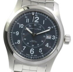 Hamilton Khaki Field Date H706050 Manual Winding Navy Dial Menand039s Watch Used