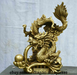 20 Old Chinese Brass Copper Feng Shui Zodiac Dragon Bead Wealth Lucky Statue