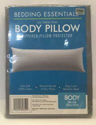 Bedding Essentials Body Pillow Zippered Pillow Protector 220 Thread Count New