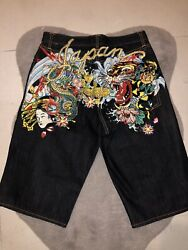 Ed Hardy Andldquojapanandrdquo Jean Shorts One Of Two Only Rare Vintage Piece