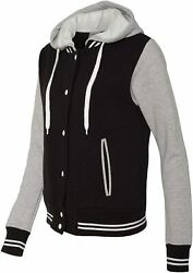 Move U Womenand039s Gray And Black Snap Front Varsity Bomber Jacket With Hood