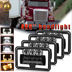 Dot 4x6 Led Headlights Drl For Freightliner Fld120 Classic Kenworth T800 T400