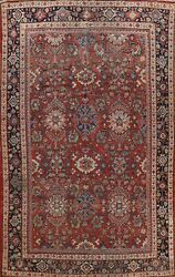 Antique Geometric Mahal Vegetable Dye Area Rug Hand-knotted Oriental 7x11 Carpet