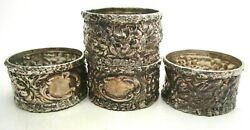 Set Of 4 Stieff Rose Repousse Sterling Silver Napkin Rings