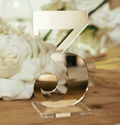 Table Numbers Laser Cut Rose Gold Silver Black Pink Frosted Wooden Wedding Decor