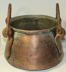 Antique Copper Pot W/decorative Trim 2 Forged Iron Handles And Hardware 7 Tall