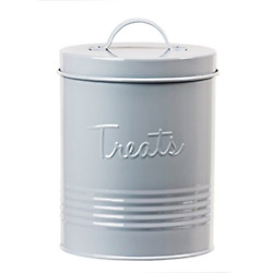 Amici Home Retro Treats Gray Canister Grey-72 Large/72 Oz White