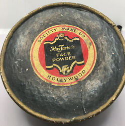 """Vintage Max Factor's """"society Makeup"""" Hollywood Face Powder Preowned """"olive"""""""