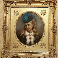 Antique Original Signed Alice Renshaw Young Lady Oil Painting Portrait Gilt Fram