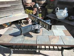 Antique Cast Iron And Porcelain Olympic Blvd And Fir St. Street Sign So. Calif.