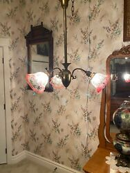 Antique Three-arm Brass Hanging Lamp Light With Antique Shades