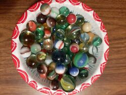 Vintage Antique Marbles Old Lot Of 90 Various Sizes