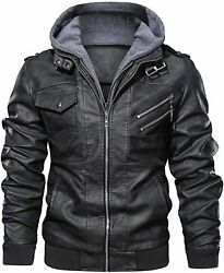 Hood Crew Menandrsquos Casual Stand Collar Pu Faux Leather Zip-up Motorcycle Bomber Jac