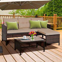 3pcs Outdoor Rattan Wicker Furniture Set Patio Couch Sofa Set W/ Coffee Table