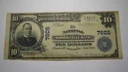 10 1902 Brookville Indiana In National Currency Bank Note Bill Ch. 7805 Rare
