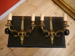 Solid Classic Stylish Empire Wall Lamps Pair Brass Sconces Arms Old 2 Lights