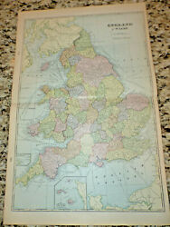 1903 Antique England Map And Wales Map Collectible Crams Atlas Map Of England