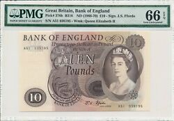 Bank Of England Great Britain 10 Pounds Nd1966-70 Pmg 66epq