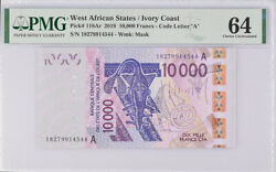 West African States Ivory Coast 10000 Fr. 2018 P 118 Choice Unc Pmg 64 Wrong Lab