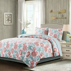 Soul And Lane Coastal Charm Cotton 3-piece Bedding Quilt Set - King With 2 Shams  