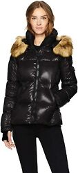 S13 Womenand039s Kylie Down Puffer Jacket With Faux Fur Trimmed Hood