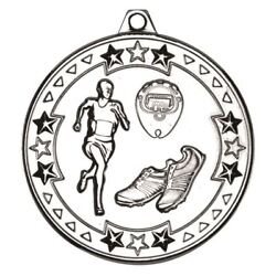 Running And039tri Starand039 Medal - Silver 2in Pack Of 100