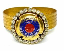 Hinged Bracelet Vintage 1930 With Repurposed Red Blue And Gold Pommery Champag