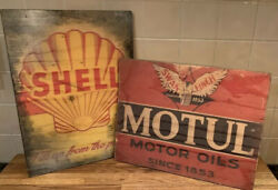 X2 Wooden Signs Motul Motor Oil And Shell Garage Reproduction Vintage Advertising