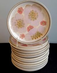 12 Bread And Butter Plates Denby Pottery English Stoneware Gypsy Pattern Excellent